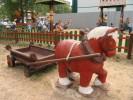 Скульптура - Лошадки с тележкой (средняя) :: Заказать изготовление скульптур из дерева, Вы можете по телефонам: 8 (495) 783-65-09, 8 (495) 518-64-87