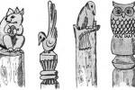 Столбы - Резные зверушки 1, 2, 3, 4 1 шт. (средние) :: Описание изготовленные из дерева, заказать данную продукцию Вы можете по телефонам: 8 (495) 783-65-09, 8 (495) 518-64-87